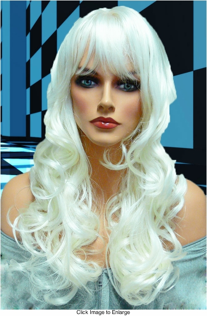 Tousled Bouncy Curl Wig in White