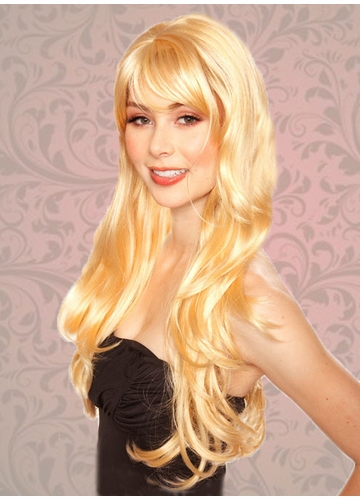 Tousled Bouncy Curls Wig with Bangs in Apricot Blonde