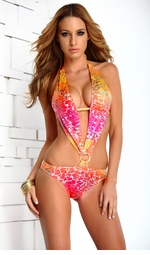 Tropical Monokini with Pucker Back
