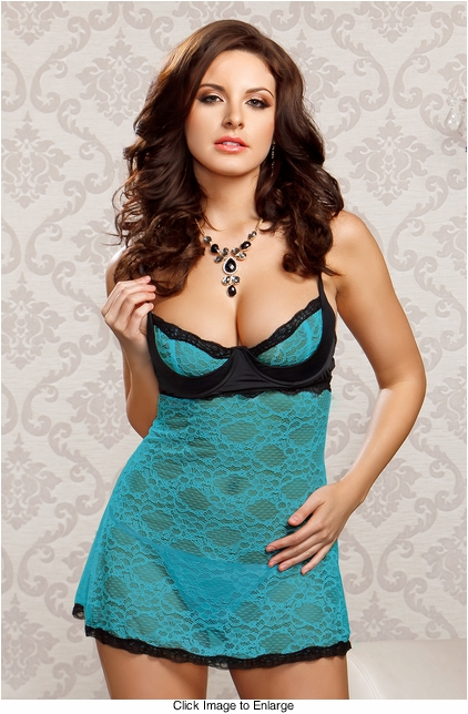 Turquoise Lace Mini Dress and G-string