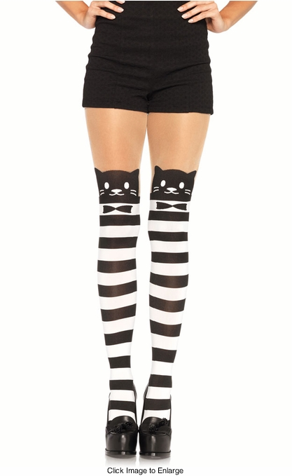 Tuxedo Cat Opaque Striped Pantyhose