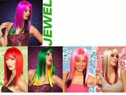Two Color Straight Wig with Bangs