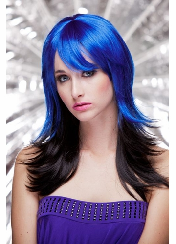 Two Color Textured Wig Hannah in Blue and Black