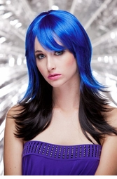 Two Color Textured Wig in Blue and Night Black