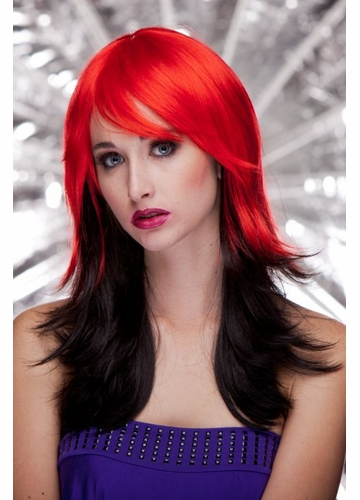 Two Color Wig in Red and Black