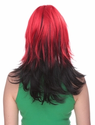 Two Color Wig in Red and Night Black