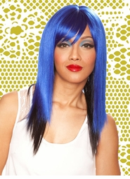 Two Tone Blue/Black Layered Straight Wig with Side Swept Bangs