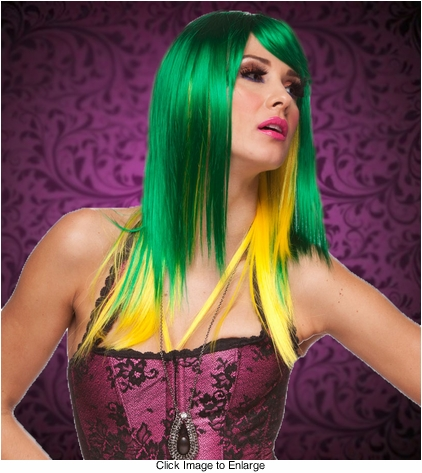 Two Tone Green/Yellow Layered Straight Wig with Side Swept Bangs
