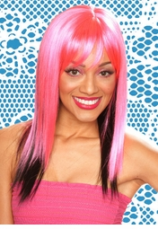 Two Tone Layered Hot Pink Straight Wig with Side Swept Bangs