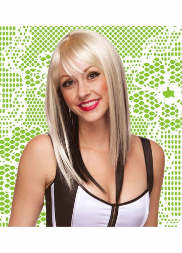Two Tone Layered Straight Blonde Wig with Side Swept Bangs