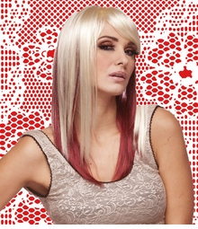 Two Tone Layered Straight Wig with Side Swept Bangs
