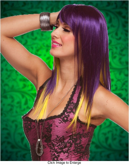 Two Tone Purple/Yellow Layered Straight Wig with Side Swept Bangs
