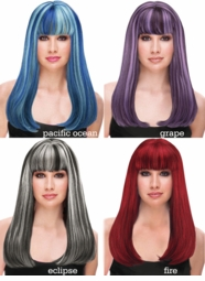 Two Tone Straight  Long Kelly Wig with Full Bangs