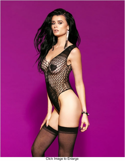 V-Neck Net Bodysuit