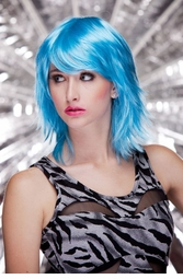 Vamp Shoulder Length Wig in Cool Blue