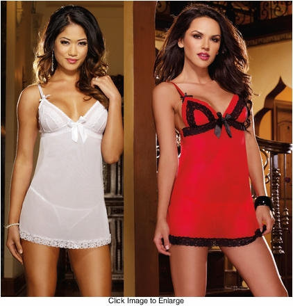 Venice Lace Trim Babydoll and Panty