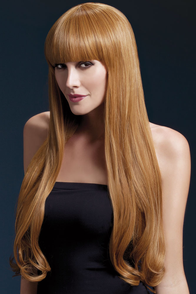 Very Long Bella Wig with Natural Wave in Auburn