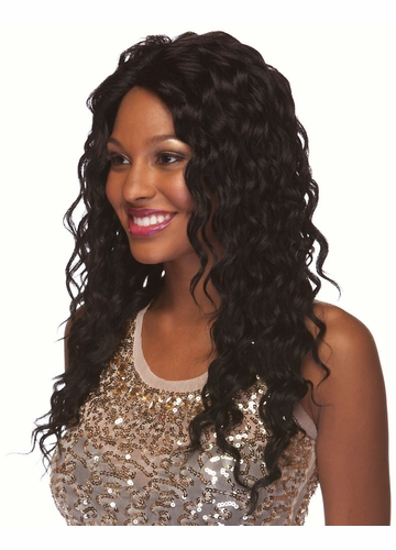 Very Long Glossy Curls Human Hair Blend Wig Brenda