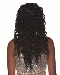 Very Long Glossy Curls Human Hair Blend Wig