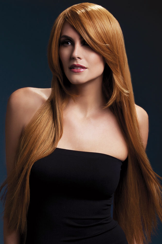 Very Long Straight Wig Amber with Side Swept Fringe in Auburn