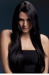 Very Long Straight Wig Amber with Side Swept Fringe in Black