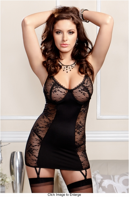 Victoria Lace Garter Dress and G-string