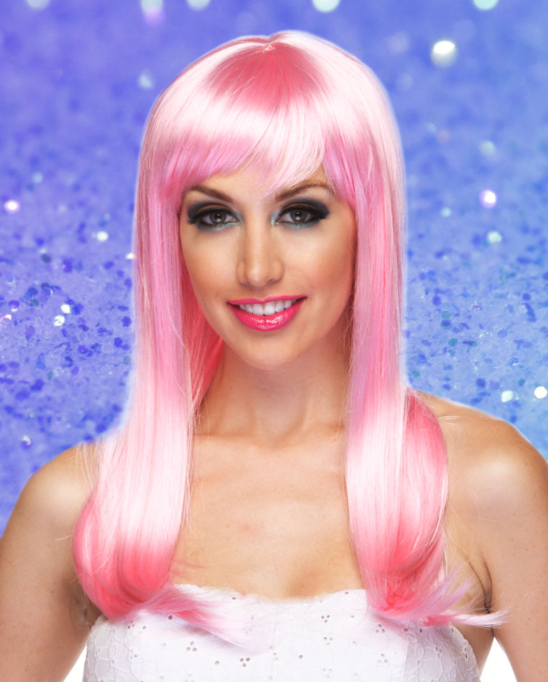 Long Light Pink Wig With Bangs 83