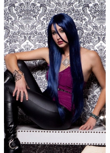Waist Long Wig in Midnight Blue Color