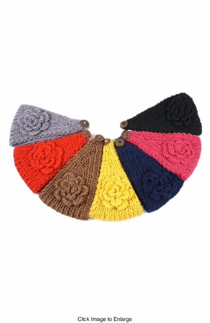 Warm Chunky Knit Headband with Flower