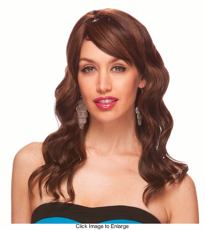 Water Wave Curl Human Hair Blend Wig with Side Swept Bangs