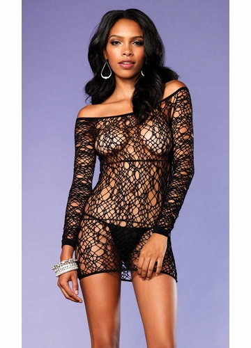 Web Net Long Sleeve Mini Dress
