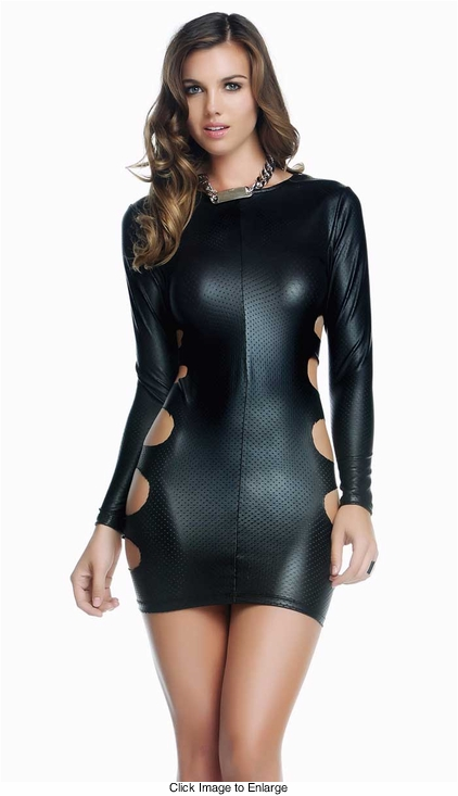 Wednesday Faux Leather Dress with Cutout Sides