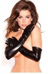 Wet Look Elbow Length Gloves