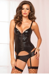 Wet Look Lace-Up Front Bustier and Shorts