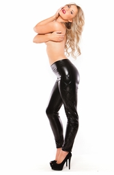 Wet Look Leggings with Criss Cross Sides