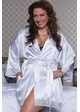 White Bridal Satin Robe with Lace Trim inset 2
