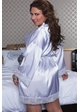 White Bridal Satin Robe with Lace Trim inset 3