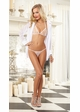 White Chiffon Shirt Robe with Lace Bra, Thong and Padded Hanger inset 1