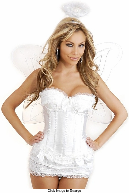 White Corset Angel 4-Piece Costume