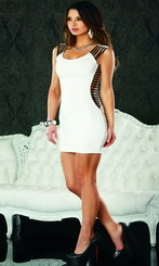 White Dress with Elastic Strap Sides