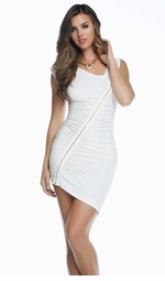White Dress with Zipper Detail