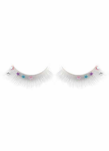 White Fake Lashes with Stars