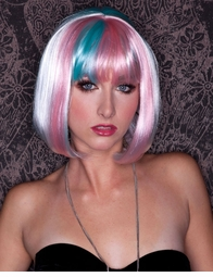 White, Light Pink and Light Blue Bob Wig with Bangs (Angel Breath)