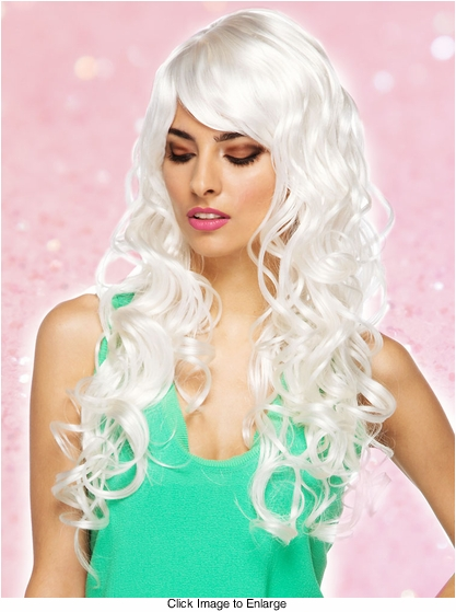 White Long Burlesque Wig with Bangs