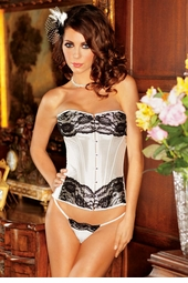 White Satin Corset with Lace Overlay