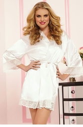 White Bridal Satin Robe with Lace Trim
