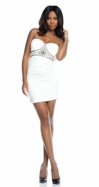 White Strapless Dress with Beading