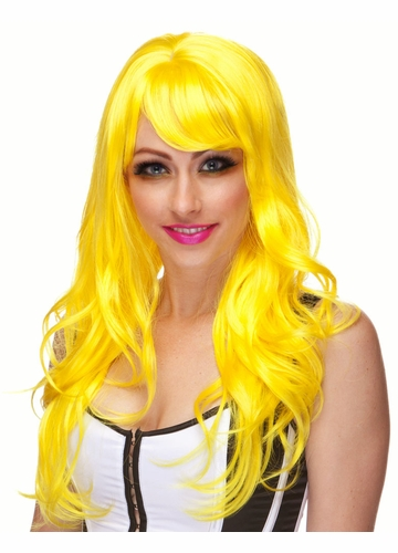 Yellow Long Curl Burlesque Wig