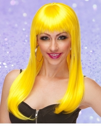 Yellow Long Straight Wig with Bangs Classy