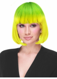 Yellow to Green Ombre Deluxe Bob Wig in Party Shades for $19.99